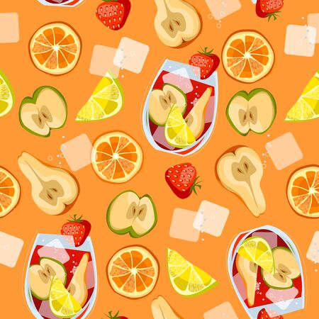 Traditional spanish drink. Sangria.  Seamless background pattern. Vector illustration.