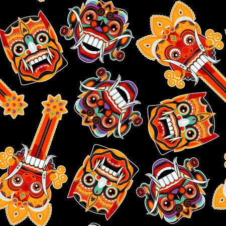 Traditional ritual Barong Masks (panther-like creature). Bali, Indonesia. Seamless background pattern. Vector illustration.