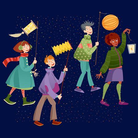 Les enfants avec des lanternes célèbrent la Saint-Martin. Laternenumzug (Défilé de lanternes). Illustration vectorielle