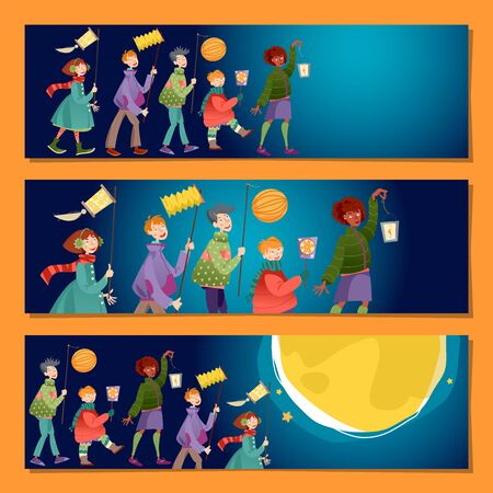 Set mit 3 universellen horizontalen Bannern. Kinder mit Laternen feiern den Martinstag. Laternenumzug (Laternenumzug). Vektor-Illustration