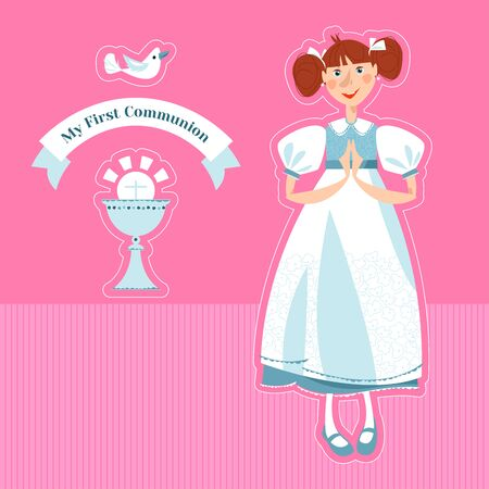 Little girl praying at the First Communion. Greeting card My First Communion. Vector illustration