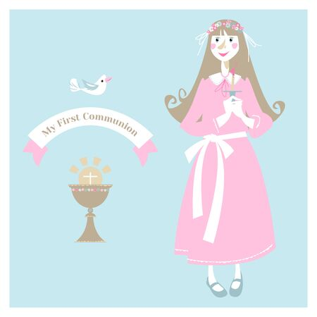 Little girl with candle before the First communion. Greeting card My First Communion. Vector illustration