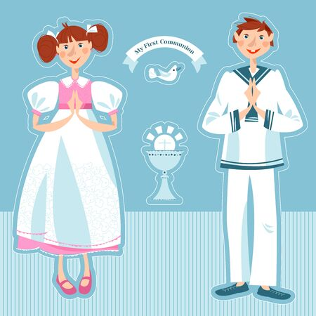 Little girl and boy pray at the First communion. Greeting card Mi Primera Comunión (My First Communion). Vector illustration