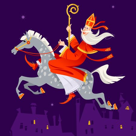 Santa Claus (Sinterklaas) rides a horse over the city at night. Christmas in Holland. Vector illustration.