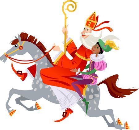 Le Père Noël (Sinterklaas) et son assistant montent à cheval pour offrir des cadeaux. Noël en Hollande. Illustration vectorielle.