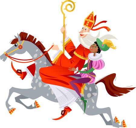 Santa Claus (Sinterklaas) and his helper ride a horse to deliver gifts. Christmas in Holland. Vector illustration.
