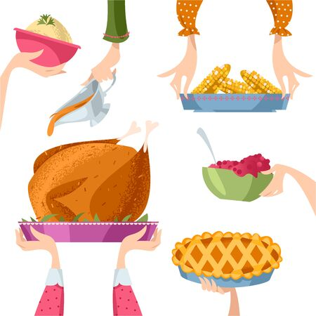 People set the festive table for Thanksgiving. Traditional holiday foods. Vector illustration  イラスト・ベクター素材