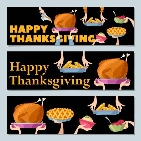 "Set of 3 universal horizontal banners ""Happy Thanksgiving"". Traditional holiday foods. Vector illustration"