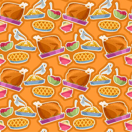 Happy Thanksgiving. Traditional holiday foods. Seamless background pattern. Vector illustration.  イラスト・ベクター素材