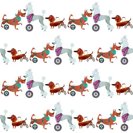 Dogs with special needs on different wheelchairs. Seamless background pattern. Vector illustration.