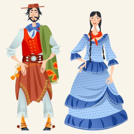 Paar in traditionellen Kostümen. Gaucho (argentinischer Cowboy) und ein Mädchen. Vektor-Illustration Vektorgrafik