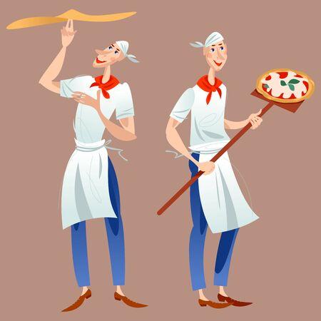 Pizzaiolo (pizzaiolo). Due uomini preparano la pizza. Pizzaiolo prepara un impasto per pizza. Baker tiene la pizza su una lunga pala. Illustrazione vettoriale