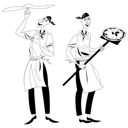 Pizzaiolo (pizzaiolo). Due uomini preparano la pizza. Pizzaiolo prepara un impasto per pizza. Baker tiene la pizza su una lunga pala. Bianco e nero. Illustrazione vettoriale