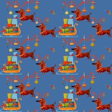 Dachshund dressed as a deer carries a sleigh with Christmas gifts. Seamless background pattern. Vector illustration.