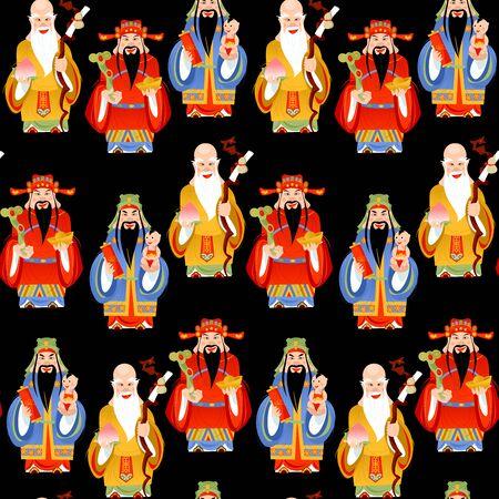The Sanxing. Three Chinese lucky gods: God of Longevity (Shou), Prosperity (Lu) and Fortune (Fu).  Seamless background pattern. Vector illustration. Illustration
