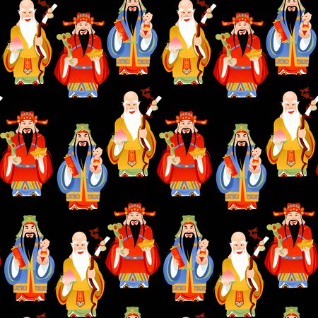 The Sanxing. Three Chinese lucky gods: God of Longevity (Shou), Prosperity (Lu) and Fortune (Fu).  Seamless background pattern. Vector illustration. 向量圖像