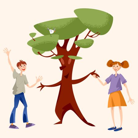 A boy and a girl greet a tree and holding hands. Vector illustration  イラスト・ベクター素材