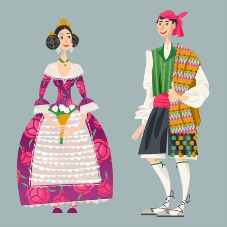 Couple in traditional clothes during the festival of Las Fallas (Festival of Fire) in Valencia, Spain. Vector illustration Иллюстрация