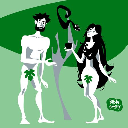 Bible story. Adam and Eve in the Garden of Eden. Vector illustration