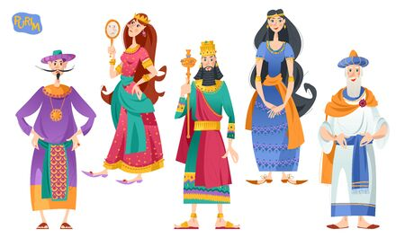 Purim. Jewish holiday. Book of Esther characters and heroes: Achashveirosh, Mordechai, Esther, Haman, Vashti. Vector illustration