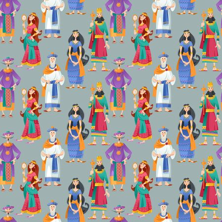 Purim. Jewish holiday. Book of Esther characters and heroes. Seamless background pattern. Vector illustration
