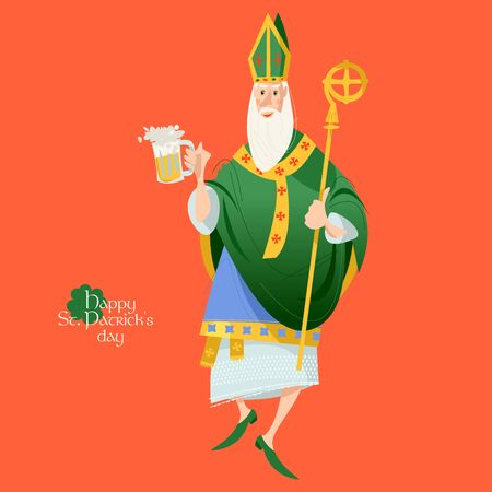 Dancing St Patrick (Apostle of Ireland), holding beer jugs.  Saint Patrick's Day. Vector illustration