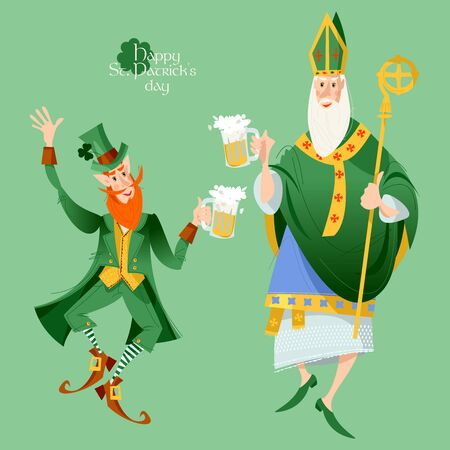 St Patrick (Apostle of Ireland) and Leprechaun hold beer jugs and dance. Saint Patrick's Day. Vector illustration