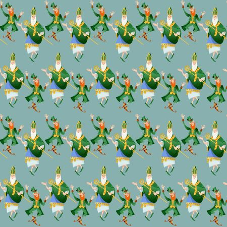 Dancing St Patrick (Apostle of Ireland) and Leprechaun Saint Patrick's Day. Seamless background pattern. Vector illustration