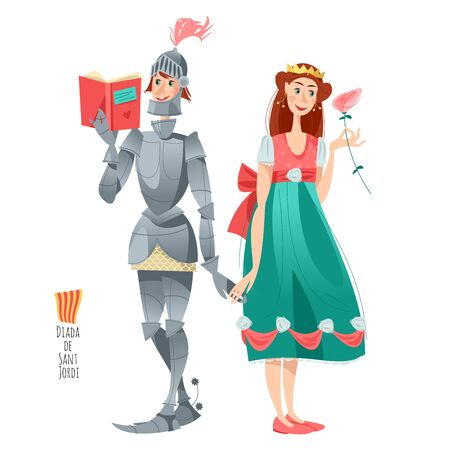 Diada de Sant Jordi (the Saint George's Day). Traditional festival in Catalonia, Spain. Princess with a rose, knight with a book. Dia de la rosa (The Day of the Rose). Dia del llibre (The Day of the Book). Vector illustration.