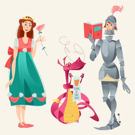 Diada de Sant Jordi (the Saint George's Day). Princess with a rose, knight with a book and dragon. Dia de la rosa (The Day of the Rose). Dia del llibre (The Day of the Book). Traditional festival in Catalonia, Spain. Vector illustration.