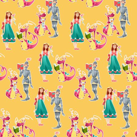Princess, knight and dragon. Diada de Sant Jordi (the Saint George's Day). Traditional festival in Catalonia, Spain. Seamless background pattern. Vector illustration