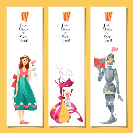 Set of bookmarks with princess, knight and dragon. Diada de Sant Jordi (the Saint George's Day). Dia de la rosa (The Day of the Rose). Dia del llibre (The Day of the Book). Traditional festival in Catalonia, Spain. Vector illustration.