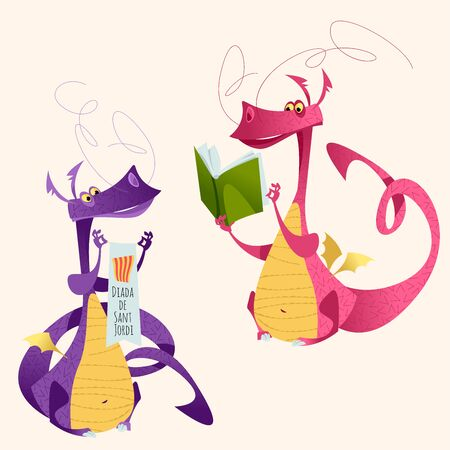 Two fairy-tale dragons. Diada de Sant Jordi (the Saint George's Day). Traditional festival in Catalonia, Spain. Dia del llibre (The Day of the Book). Vector illustration.