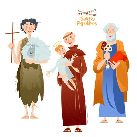 "Portuguese festival ""Santos Populares"" (Popular Saints). Santo Antônio, São João, São Pedro (Saint Anthony, Saint John, Saint Peter). Vector illustration. Ilustracja"