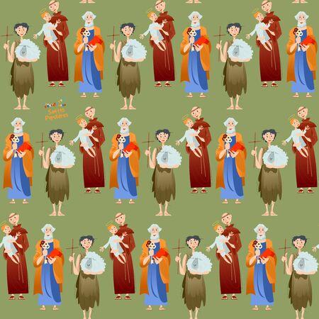 "Portuguese festival ""Santos Populares"" (Popular Saints). Santo Antônio, São João, São Pedro (Saint Anthony, Saint John, Saint Peter). Seamless background pattern. Vector illustration Ilustracja"