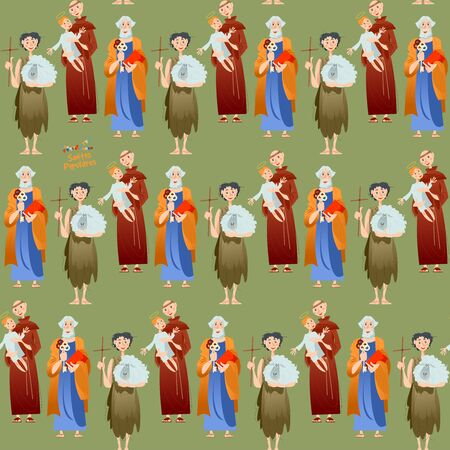 "Portuguese festival ""Santos Populares"" (Popular Saints). Santo Antônio, São João, São Pedro (Saint Anthony, Saint John, Saint Peter). Seamless background pattern. Vector illustration 矢量图像"