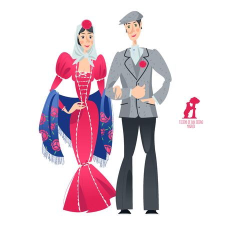 """Couple in traditional clothes during the festival of """"San Isidro"""" (Fiestas de San Isidro), patron of Madrid. Vector illustration."""