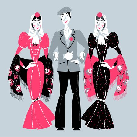 """Man and two women in traditional clothes during the festival of """"San Isidro"""" (Fiestas de San Isidro), patron of Madrid. Vector illustration. Ilustracja"""