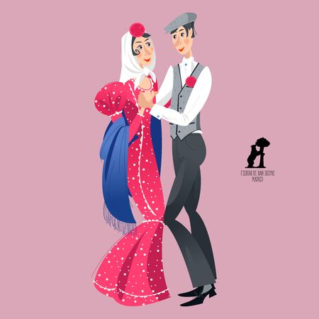"""Dancing couple in traditional clothes during the festival of """"San Isidro"""" (Fiestas de San Isidro), patron of Madrid. Vector illustration."""