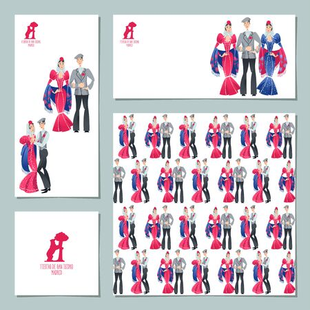 "Set of 4 universal cards with festival of ""San Isidro� (Fiestas de San Isidro), patron of Madrid. Man and woman in traditional clothes. Vector illustration"
