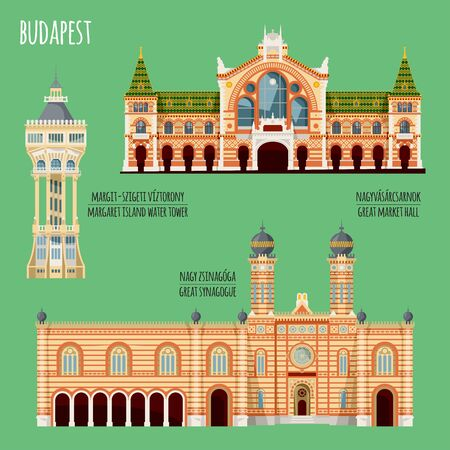 Sights of Budapest, Hungary. Margaret island water tower, Great market hall, Great synagogue. Vector illustration.