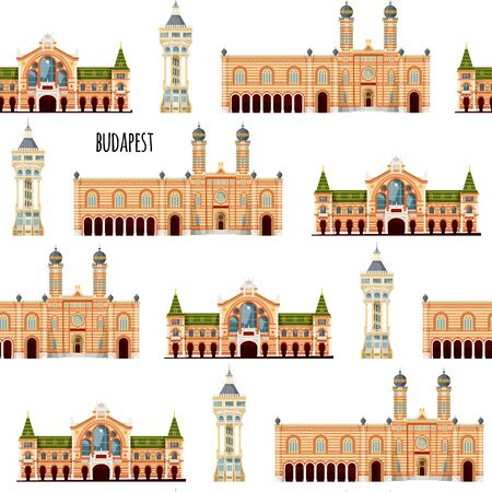 Sights of Budapest, Hungary. Margaret island water tower, Great market hall, Great synagogue. Seamless background pattern. Vector illustration