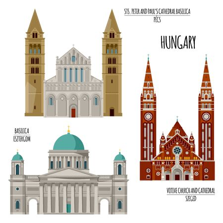 Sights of Hungary. Esztergom Basilica, Sts. Peter and Paul's Cathedral Basilica in Pecs, Votive Church and Cathedral in Szeged. Vector illustration. Illusztráció