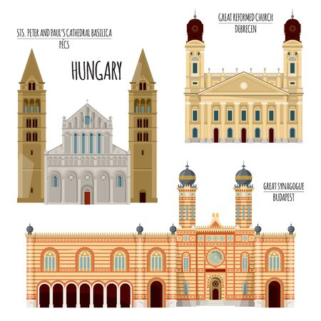 Sights of Hungary. Great Reformed Church in Debrecen, Sts. Peter and Paul's Cathedral Basilica in Pecs, Great synagogue in Budapest. Vector illustration