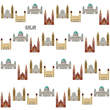 Sights of Hungary. Esztergom Basilica, Great Reformed Church in Debrecen, Sts. Peter and Paul's Cathedral Basilica in Pecs, Votive Church and Cathedral in Szeged. Seamless background pattern. Vector illustration