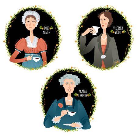 History of England. Famous English writers drinking tea. Jane Austen, Agatha Christie, Virginia Woolf. Vector illustration.