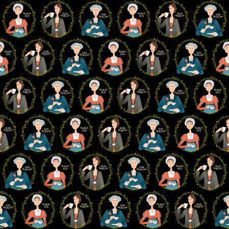 History of England. Famous English writers drinking tea. Jane Austen, Agatha Christie, Virginia Woolf. Seamless background pattern. Vector illustration Ilustracja