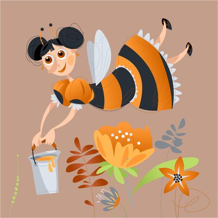 Girl dressed as a bee flying above the flowers with a basket of honey. Vector illustration.