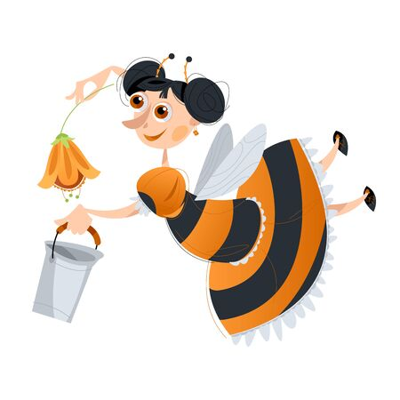 Girl dressed as a bee collects honey. Vector illustration.  Ilustracja