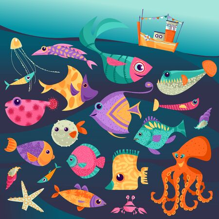 Underwater world. Variety of swimming multicolored fish. illustration. Ilustracja